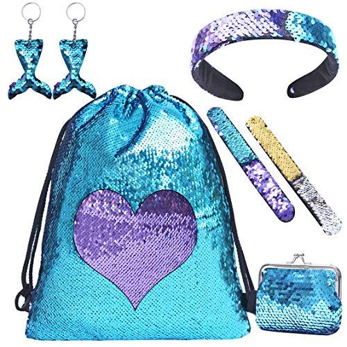 Zainetto paillettes reversibili bambina, borsa zaino bimba con paillettes sacca borsetta ragazza con bracciali, borse, portachiavi e fascia zainetti regalo bambina 7 8 9 10 anni