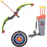 Kiditos Archer Bow and Arrow, Quiver, 3 Arrows, Strong String Thread, Target Board with LED Flashing Light