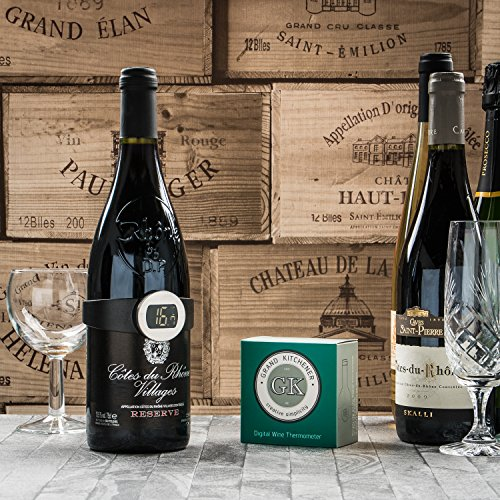 Grand kitchener termometro digitale per bottiglia di vino–accurate & easy clip on. qualità top. great gift. 100% soddisfazione garantita
