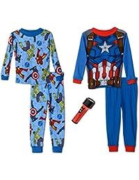 Avengers Little Boys' All Heroes 4-Piece Pyjama Set with FlashLight, Size 4