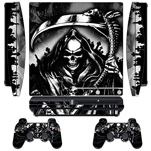 Skin Designer per Sony PS3 Slim Console System Plus Two (2) Adesivi per: Playstation 3 controller Dualshock - Reaper