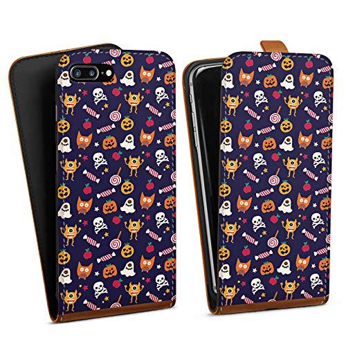 DeinDesign Tasche kompatibel mit Apple iPhone 8 Plus Flip Case Hülle Geist Halloween Muster Suess