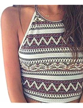 QIYUN.Z Chica De Verano Halter Ocasional Cami Camisetas Sin Mangas De Cuello De Playa Con Cordones Pequenos Chalecos
