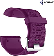 ACUTAS Silicone Replacement Band Strap with Tool for Fitbit Surge Tracker (Large) (Purple)
