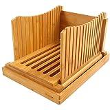 """Trancheuse à pain pliable en bois de bambou - Épaisseur réglable - Guide de tranche de pain avec ramasse-miettes - Pour pain maison, gâteaux, bagels, pliable et compact 12.5"""" x 8.5"""" x 1.6"""" original"""