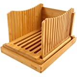 Bamboehout Opvouwbare Brood Snijmachine Compacte Dikte Verstelbare Broodsnijgids met kruimelvanger lade voor zelfgemaakt Broo