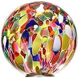 Gartenkugel, Rosenkugel, Dekokugel 'POINT' multicolor, Ø 13 cm, mundgeblasen und handgeformtes Glas Unikat (ART GLASS powered by CRISTALICA)