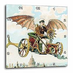 3dRose dpp_102667_2 Vintage Steampunk Flying Machine Dirigible Design-Wall Clock, 13 by 13-Inch
