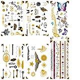 Premium Metallic Henna Tattoos - 75 Designs in Gold und Silber - Temporäre Fake Shimmer Schmuck Tattoo - Blumen, Eagles, Armbänder, Handgelenk und Armbänder …