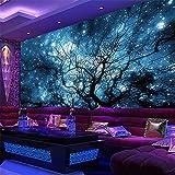 Hwhz Benutzerdefinierte 3D Fototapete Moderne Abstrakte Kunst Blau Sternenhimmel Bäume Wohnzimmer Tv Hintergrund Wanddekoration Wandbild Wohnkultur-200X140Cm