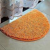 """HALF-ROUND chenilla microfibra alfombra Ultra suave y antideslizante, Floor Mat Dormitorio Shaggy Puerta Mat Alfombra ordenador silla alfombra área alfombra lavable absorbente alfombrilla de baño, Naranja, 15.7""""x23.6"""""""