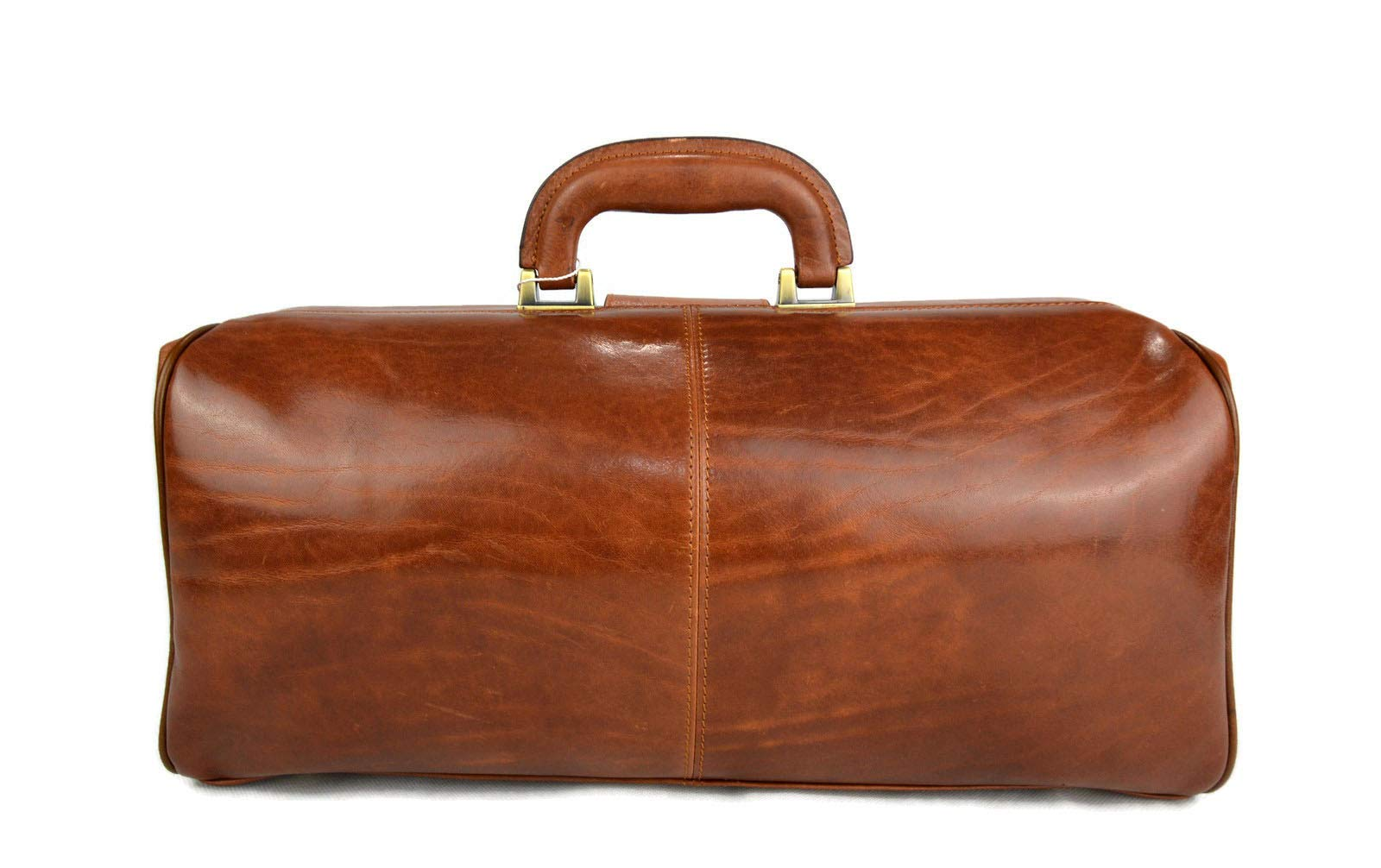 Leather doctor bag messenger handbag ladies men leatherbag briefcase vintage duffle bag brown made in Italy luxury bag travel bag weekender - handmade-bags