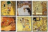 Time4art Gustav Klimt Print Canvas 6 Bild 6 x 30x30cm Baum des lebens Kuss Tree of Life Adele Bloch Bauer Leinwand