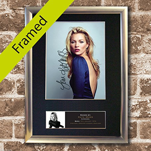 Price comparison product image KATE MOSS Signed reproduction autograph high quality SILVER FRAMED Photo RE-PRINT A4 21x30cm