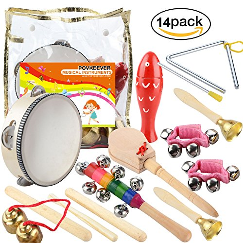 Povkeever 14 Pcs Wooden Musical ...