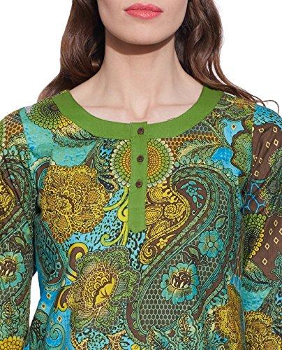 Kastanienbraunbedruckt3-Tasten-DamenBaumwolleSpitze-einzigartigeModefürFrauen-HandwerkerhergestelltinIndien Grün 1
