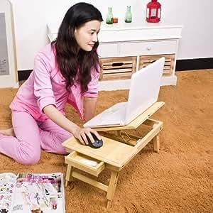 Table tablette de lit pliable PC portable double plateaux, hauteur réglable en bambou, So-FBT04-K