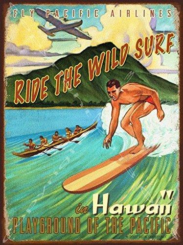 Surf Vintage Hawaii-art (OMSigns Ride The Wild Surf Metall Schild, Rick Sharp Art, Vintage Surfbrett, Retro Insel Lifestyle)