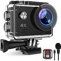 Action Cam 4K 20MP, Unterwasserkamera mit EIS Anti-Shake, Fernbedienung Externem Mikrofon Actioncam und wasserdichte 40M…