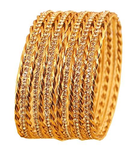 Touchstone Bangle Collection Indian Bollywood wunderschön geflochtenes Thema gelb Rhein Designer Schmuck Armreifen Armbänder für Damen 2.25 Set von 14 Gold