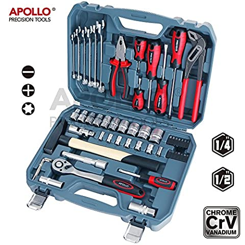 Apollo 56pc High-Grade Auto Mechanics Tool Set with Chrome Vanadium Cr-v Steel Tools, Metric Sockets, Combination Spanners, Combination Pliers, Machinist Hammer, Water Pump Pliers, 1/4