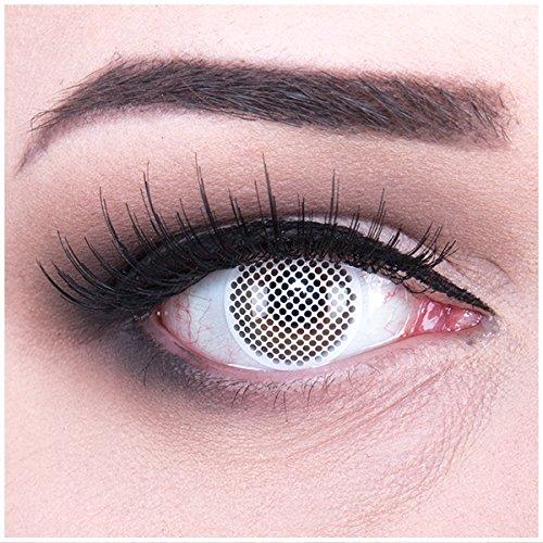 Meralens weiße Kontaktlinsen, White Screen mit Pflegemittel ohne Stärke, 1er Pack (1 x 2 Stück) (Augen Des Himmels Kostüme)