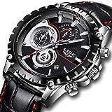 Uhren für herren,LIGE herren Fashion Lederband wasserdicht Sport Military Watch Chronograph Datum Kalender Top-Marke Luxus Analog Quarz-Armbanduhr schwarz