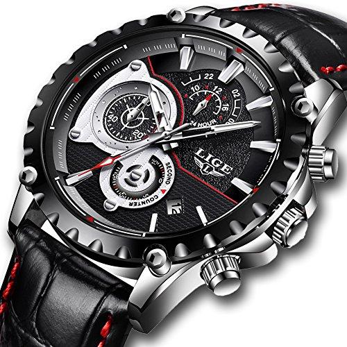 Watches for Men,LIGE Mens Fashion Leather Strap Waterproof Sport Military Watch Gents Chronograph Date Calendar Top Brand Luxury Analogue Quartz Wrist Watch Black