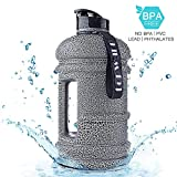 2.2L BPA Free Tritan Dishwasher SafePlastic Water Bottle Big Capacity Large Water Jug Container with Carrying Loop Leakproof Water Bottle for Fitness Camping Training Bicycle Gym Outdoor Sports (BLACK)