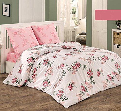 Bettwäsche-Set 3 Teilig, Renforce-Baumwolle, Reißverschluss, 200x220 cm, Rosa, Blumen
