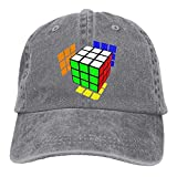 Walnut Cake Hüte,Kappen Mützen Rubik's Cube World Denim Baseball Caps Hat Adjustable Cotton Sport Strap Cap for Men Women