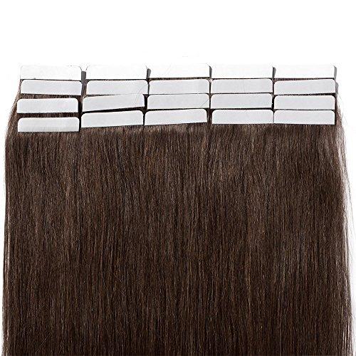 Extension capelli veri biadesivo tape in lunga 40cm pesa 50g 20 pcs remy human hair lisci umani riutilizzabile seamless, #4 marrone cioccolato