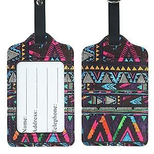 Lizimandu Kofferanhänger Koffer Reise - Zubehör- Kofferanhänger Gepäckanhänger - 2 Stück(Afrika Stil/Africa Style)