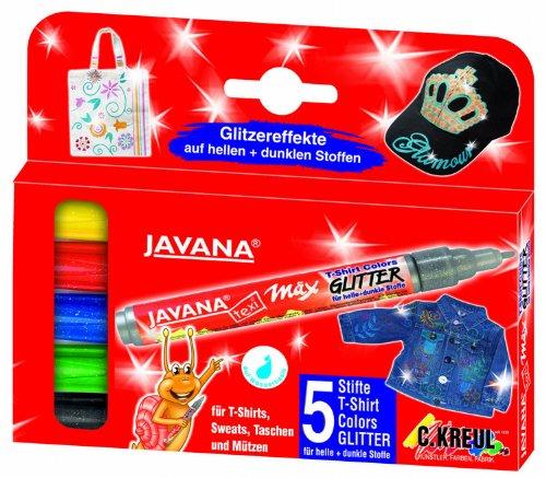 Kreul 92650 - Javana Texi Mäx Glitter, Stoffmalstifte für helle und dunkle Stoffe, mit Rundspitze ca. 2 - 4 mm, 5 Stifte in sonnengelb, rot, blau, grün und schwarz