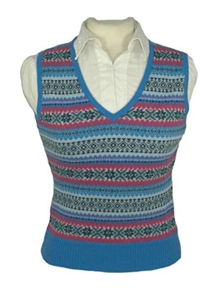 Ladies Cashmere Fair Isle Slipover, Tanktop: Amazon.co.uk: Clothing