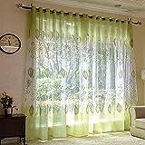 Voile Vorhang mit Ösen Schal transparent Gardine Gaze Ösenschals Fensterschal Vorhänge 100*250 cm, Grüne Blätter