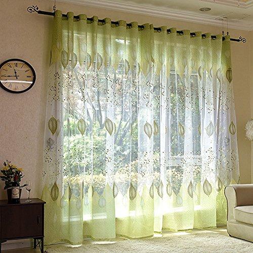 Voile Vorhang mit Ösen Schal transparent Gardine Gaze Ösenschals Fensterschal Vorhänge 100*250 cm, Grüne Blätter -