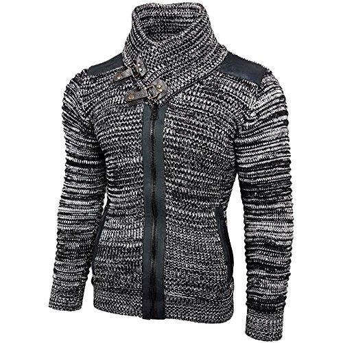 Rusty Neal Grobstrick Zipper Strick-Pullover Strickjacke Jacke RN-13289 NEU Schwarz / Weiß