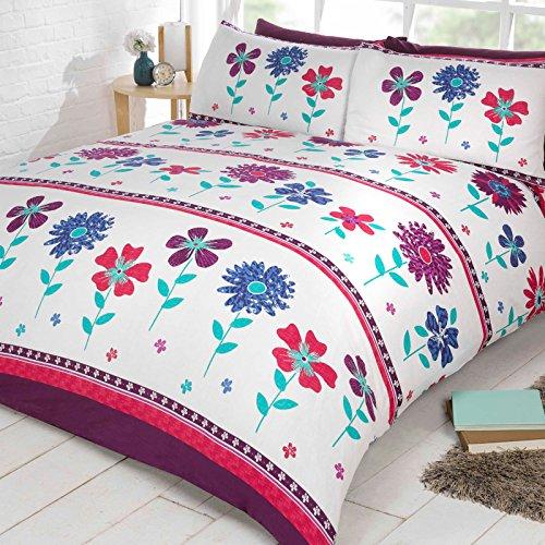 Just Contempo Blumenmuster Bettbezug Set, Double, violett, Plum Purple, Doppelbett - Daisy-duvet-set