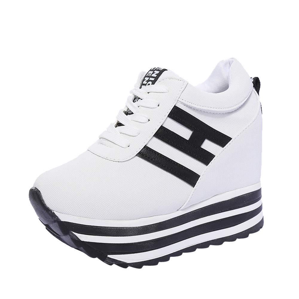 Dragon868 Sneakers Donna con Zeppa Stivali Plateau Moda Scarpe Ragazza  Scarpe Tacchi Alti Ginnastica con Lacci Scarpe Comode per Camminare Casual c40c6ca2993