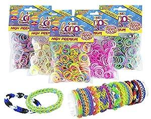 CRAZE 51147 - Juego de 300 Anillos de Silicona de Colores prémium para Pulsera, Bandas de Silicona, Goma Mega US-Trend 51147, Multicolor