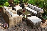 bomey Lounge Wohnlandschaft Provence NATUR 1 Sofa 2 Sessel 1Tisch 2 Hocker Rattan Polyrattan Geflecht Gartenmöbel Provence