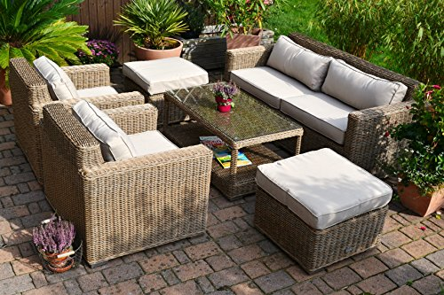 bomey Lounge Wohnlandschaft Provence NATUR 1 Sofa 2 Sessel 1Tisch 2 Hocker Rattan Polyrattan...