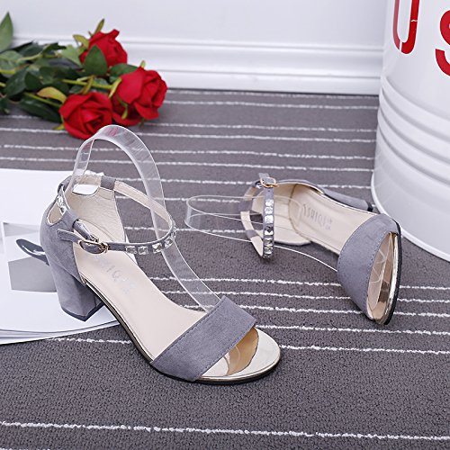 XY&GKSandales femmes filles avec des chaussures d'été 36 grey