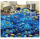 Benutzerdefinierte 3D Boden Ozean Welt Delphin 3D Bodenfliesen Wandmalereien Wasserdichte Tapete Für Bad 3D Bodenmalerei 250x175cm