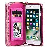 Damen Leder Schutzhülle Handytasche Handyhülle Handyschale als Geldbeutel Geldbörse mit Kartenhüllen Magnet Hülle, für iPhone 7 plus, Rosa