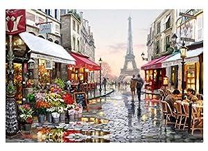Diy Oil Paint by Number Kit, Dipingere Paintworks Romantic Eiffel Tower Parigi Street View Disegno con spazzole 16 * 20 pollici decorazioni natalizie decorazioni regali (senza cornice)