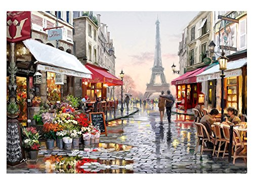 Diy oil painting by kit number, Painting Paintworks Romantic Eiffel Tower Paris street view drawing with brushes 16 * 20 inch Christmas decoration Decorations gifts (frameless)