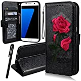 WE LOVE CASE Samsung S7 Edge Wallet Case, Premium Quality Embroidery Leather Cover with Card Holder Kickstand and Magnetic Closure, Case with Card Slots Built Stand Floral Rose Pattern Folio Flip Foldable Book Feature Protective Case for Samsung Galaxy S7 Edge - Black