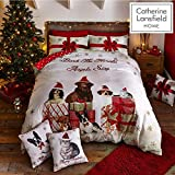 Catherine Lansfield Christmas party Animal - Set copripiumino matrimoniale 220 x 230 cm + 2 federe 50 x 75 cm, 60% cotone 40% poliestere oro, Natale, King